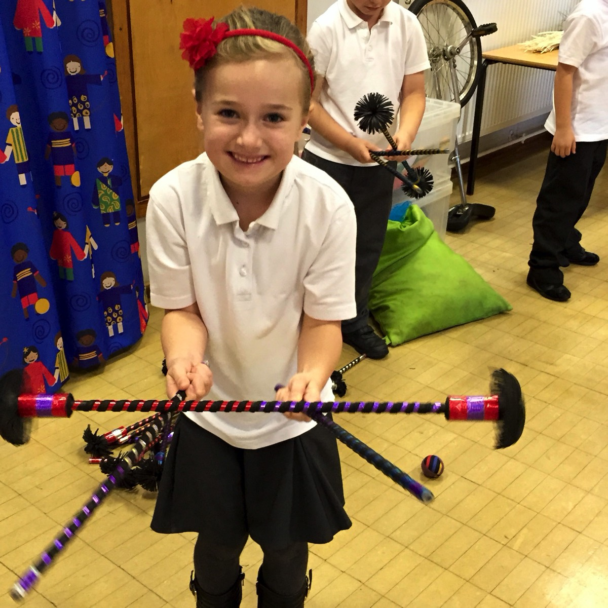 Circus Skills workshop flower stick school